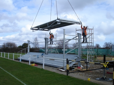Construction of football stand Image